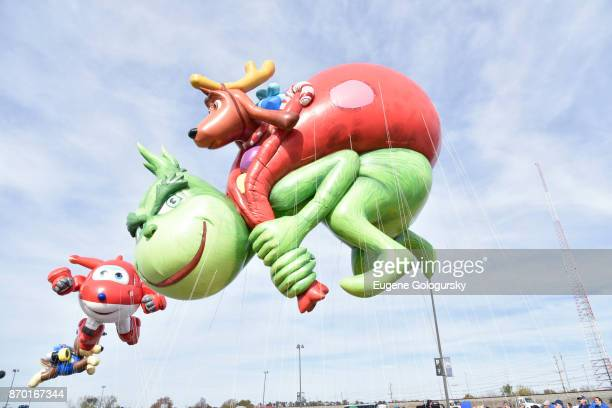 Jett from Super Wings and Dr Seuss' The Grinch debut as giant balloons during Macy's Balloonfest ahead of the 91st Annual Macy's Thanksgiving Day...