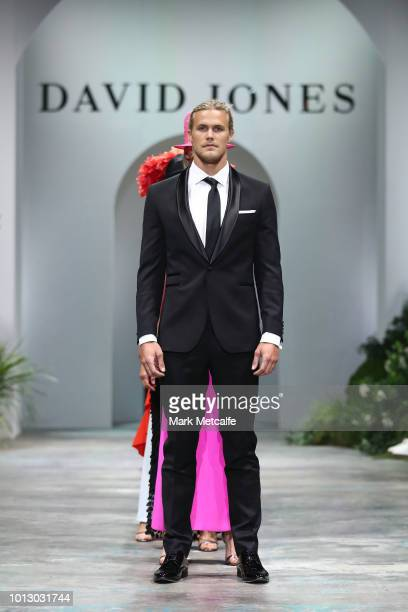 Jett Kenny showcases designs during the media rehearsal ahead of the David Jones Spring Summer 18 Collections Launch at Fox Studios on August 8 2018...