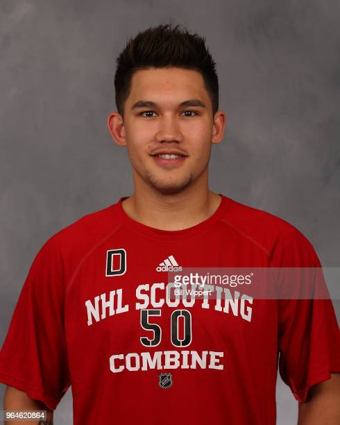 Jett Woo poses for a headshot at the NHL Scouting Combine on May 31 2018 at HarborCenter in Buffalo New York