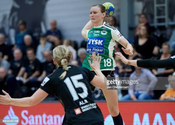 Jette Hansen of Silkeborg Voel in action during the Danish HTH Go Ligaen match between Copenhagen Handball and Silkeborg Voel in...