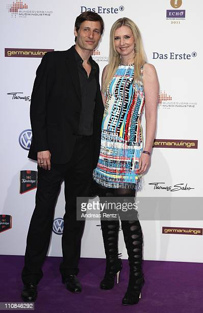 Jette Joop amd husband Christian Elsen arrive for the Echo award 2011 at Palais am Funkturm on March 24 2011 in Berlin Germany