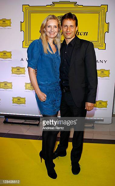 Jette Joop and her husband Christian Elsen attend the Deutsche Grammophon reception at the Universial Music headquarters on September 2 2011 in...