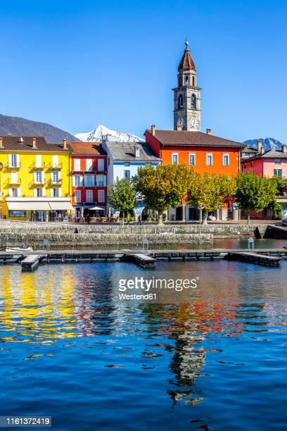 jetties at lago maggiore, ascona, ticino, switzerland - ascona stock pictures, royalty-free photos & images
