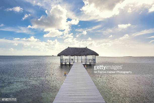 Jetty and palapa with dramatic sky in the Caribbean