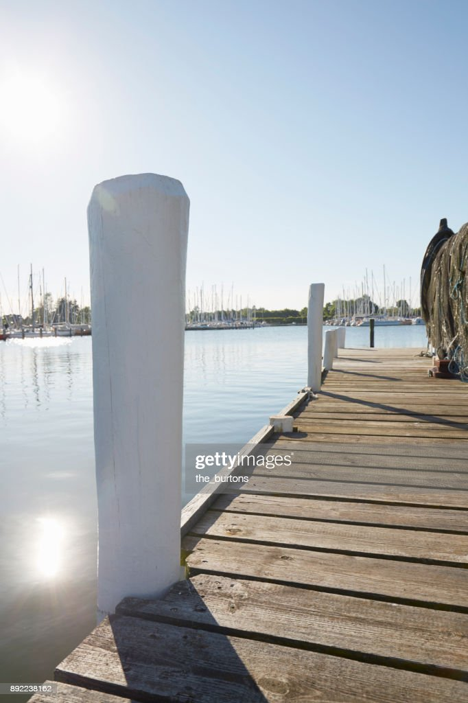Jetty at a river in Schleswig-Holstein, Germany : Stock Photo