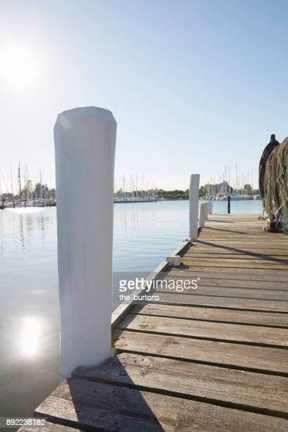 Jetty at a river in Schleswig-Holstein, Germany