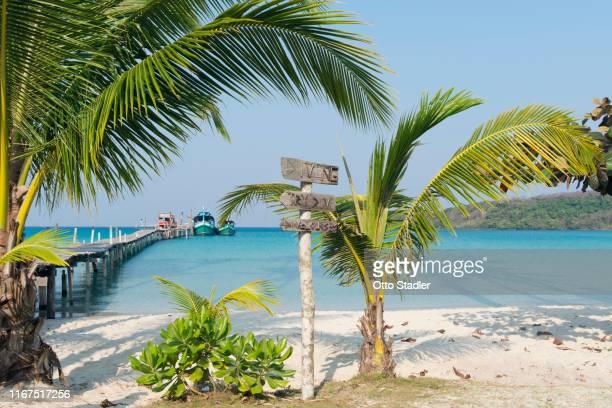 a jetty at bang bao beach on ko kut island - golf von thailand stock-fotos und bilder