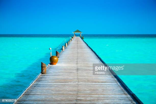jetty at dhiffushi holiday island, south ari atoll, maldives - idyllic stock pictures, royalty-free photos & images