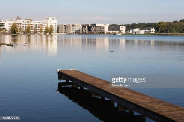 Jetty at Lake Phoenix in Dortmund, Germany,
