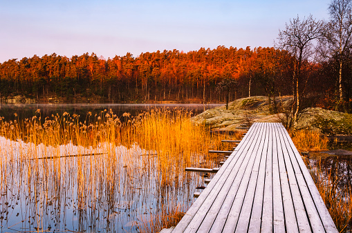 Jetty at lake - gettyimageskorea