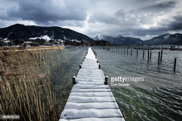 jetty at lake tegernsee - tegernsee stock pictures, royalty-free photos & images