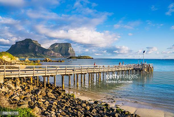 jetty at lord howe island lagoon - new south wales stock pictures, royalty-free photos & images