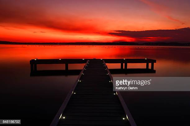jetty at sunset on lake macquarie