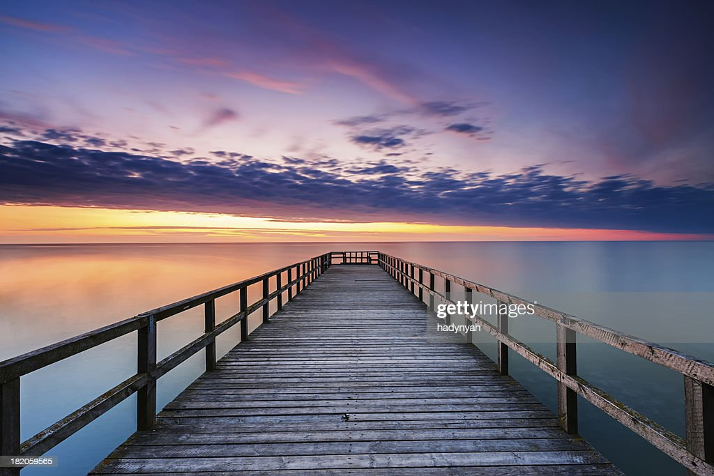 Jetty at sunset : Stock Photo