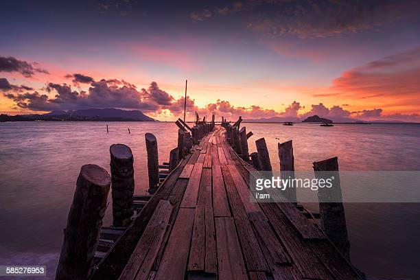 Jetty at the sunset
