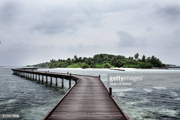 A jetty leading to an island from the water villas on February 02 2016 in Adaaran Select Hudhuranfushi Maldives China's top diplomats estimates...
