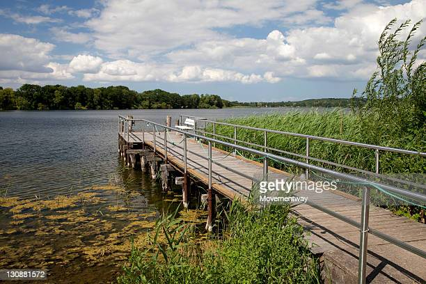 Jetty on lake Dieksee, Bad Malente-Gremsmuehlen, Holstein Switzerland Nature Park, Schleswig-Holstein, Germany, Europe