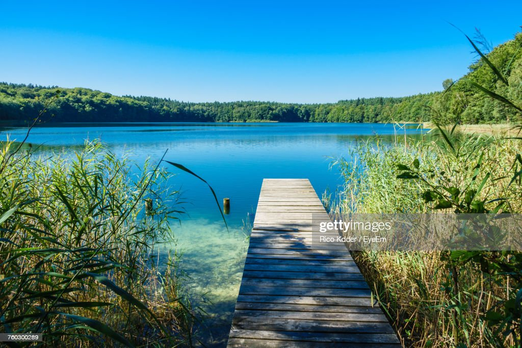 Jetty Over Lake In Summer : Stock Photo