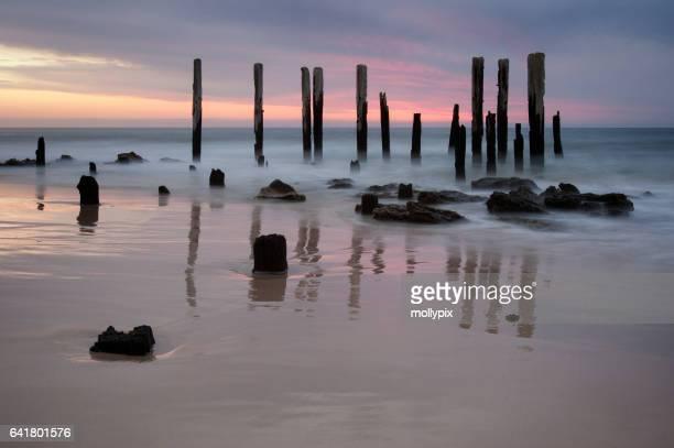 Jetty ruine Port Willunga crépuscule Adelaide Australie Tourisme