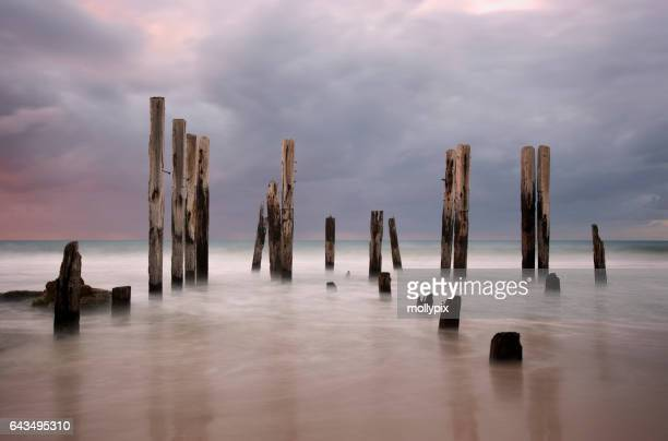 Jetty Ruin Port Willunga Dusk Adelaide Australia Tourism