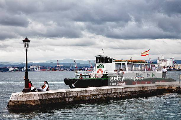 Jetty Santander Spain Boat and clouds
