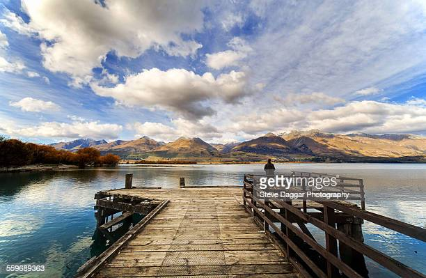 Jetty with mountain view