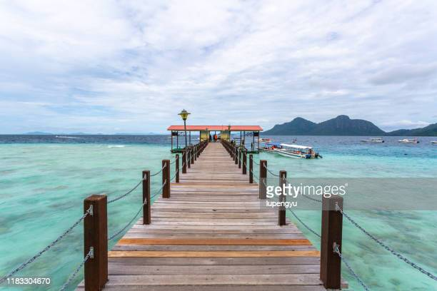 jetty,semporna,sabah - sabah state stock pictures, royalty-free photos & images