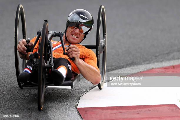 Jetze Plat of Team Netherlands competes during the Men's H4 Road Race Time Trial on day 7 of the Tokyo 2020 Paralympic Games at Fuji International...
