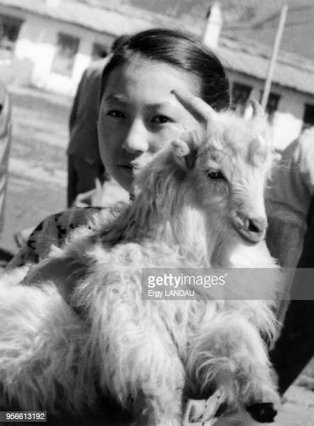 Jeune fille portant une chèvre en Mongolie