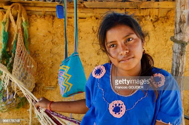Jeune fille Wayuu près d'un hamac dans un village près de Punta Gallinas dans la région de la Guajira 20 mars 2015 Colombie