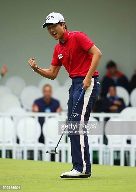 Jeunghun Wang of Korea celebrate a putt on the 18th green during the fourth and final round of the Trophee Hassan II at Royal Golf Dar Es Salam on...