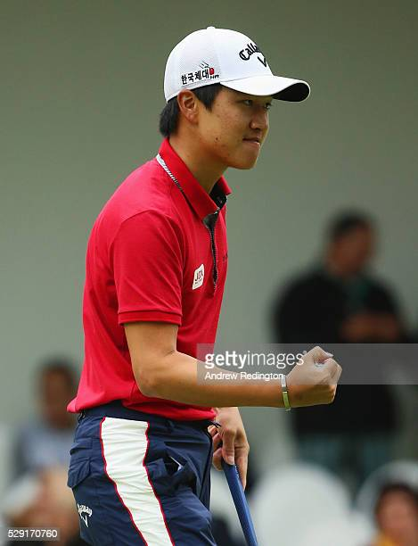 Jeunghun Wang of Korea celebrates a putt on the 18th green during the fourth and final round of the Trophee Hassan II at Royal Golf Dar Es Salam on...