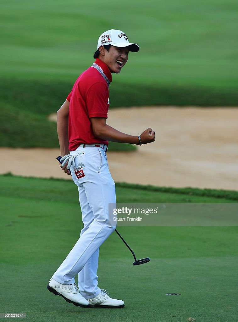 Jeunghun Wang of Korea celebrates winning the AfrAsia Bank Mauritius Open at Four Seasons Golf Club Mauritius at Anahita on May 15, 2016 in Poste de Flacq, Mauritius.