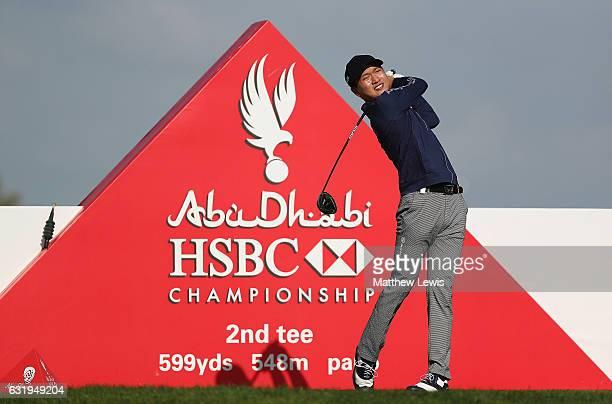 Jeunghun Wang of South Korea tees off on the 2nd hole during the ProAm ahead of the Abu Dhabi HSBC Championship at Abu Dhabi Golf Club on January 18...