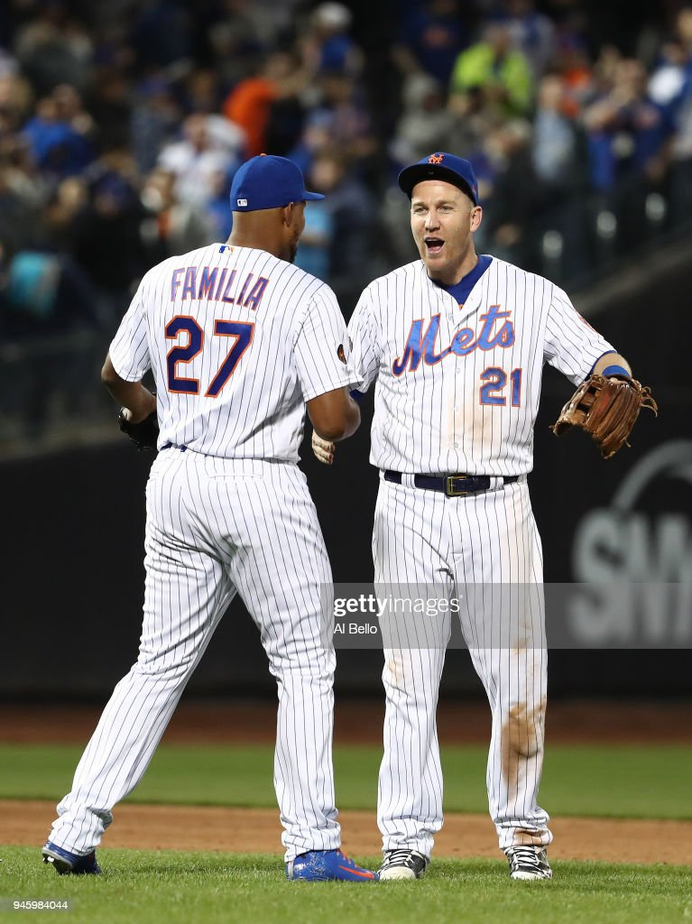 Jeurys Familia #27 and Todd Frazier #21 of the New York Mets celebrate a 6-5 win against the Milwaukee Brewers during their game at Citi Field on April 13, 2018 in New York City.