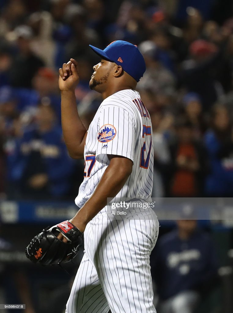 Jeurys Familia #27 of the New York Mets celebrates a 6-5 win against the Milwaukee Brewers during their game at Citi Field on April 13, 2018 in New York City.