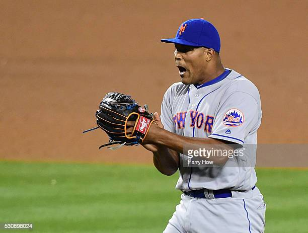Jeurys Familia of the New York Mets celebrates a strikeout of Yasiel Puig of the Los Angeles Dodgers to end the game with a 43 win at Dodger Stadium...