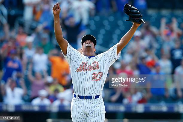 Jeurys Familia of the New York Mets celebrates after deafeting the Philadelphia Phillies at Citi Field on May 25 2015 in Flushing neighborhood of the...