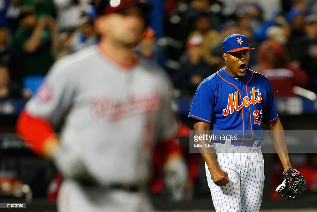 Jeurys Familia #27 of the New York Mets celebrates after defeating the Washington Nationals 4-0 at Citi Field on May 1, 2015 in the Flushing neighborhood of the Queens borough of New York City.