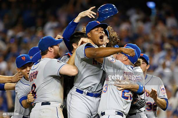 Jeurys Familia of the New York Mets celebrates after the Mets 3-2 victory against the Los Angeles Dodgers in game five of the National League...