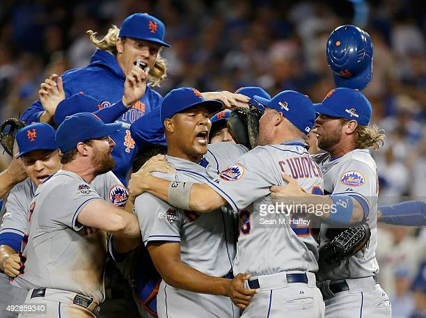 Jeurys Familia of the New York Mets celebrates after the Mets 32 victory against the Los Angeles Dodgers in game five of the National League Division...