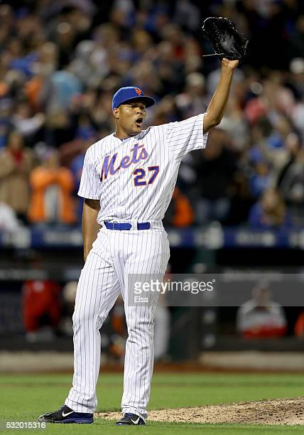 Jeurys Familia of the New York Mets celebrates the 20 win over the Washington Nationals at Citi Field on May 17 2016 in the Flushing neighborhood of...