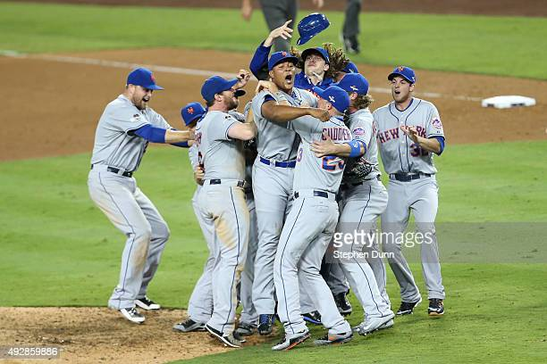 Jeurys Familia of the New York Mets celebrates with teammates after the Mets 32 victory against the Los Angeles Dodgers in game five of the National...