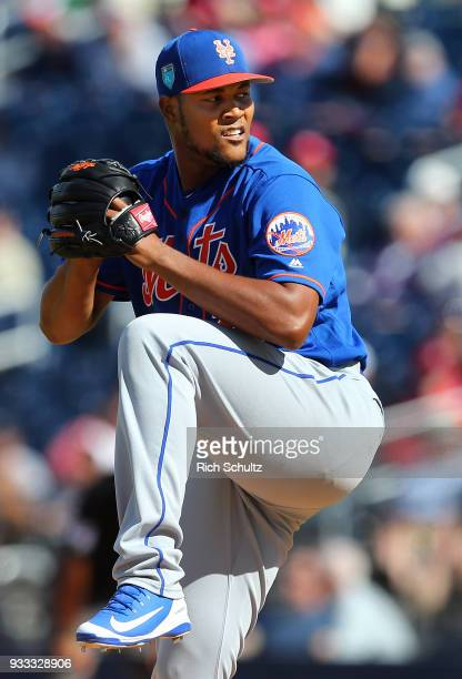 Jeurys Familia of the New York Mets in action during a spring training game against the Washington Nationals at FITTEAM Ball Park of the Palm Beaches...