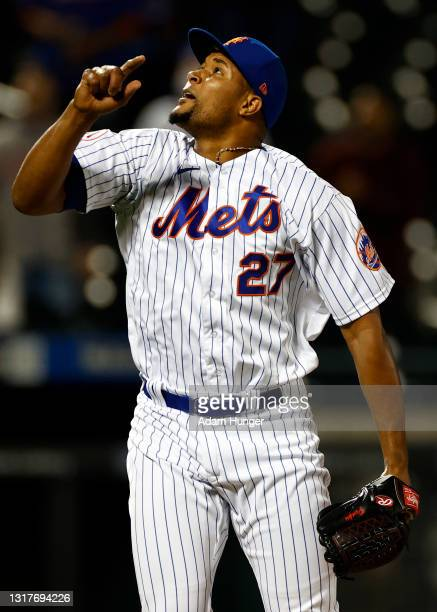 Jeurys Familia of the New York Mets in action during the seventh inning against the Arizona Diamondbacks at Citi Field on May 8, 2021 in the Flushing...