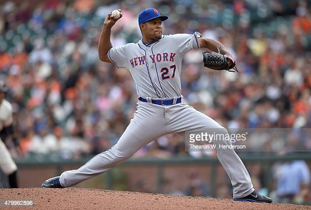 Jeurys Familia of the New York Mets pitches against the San Francisco Giants in the bottom of the ninth inning at ATT Park on July 8 2015 in San...