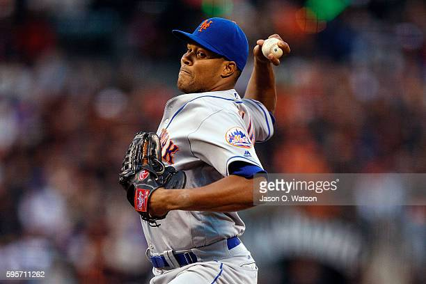 Jeurys Familia of the New York Mets pitches against the San Francisco Giants during the ninth inning at ATT Park on August 21 2016 in San Francisco...