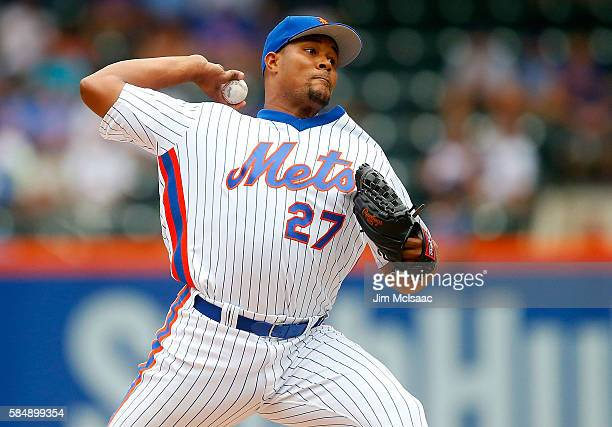 Jeurys Familia of the New York Mets pitches in the ninth inning against the Colorado Rockies at Citi Field on July 31 2016 in the Flushing...