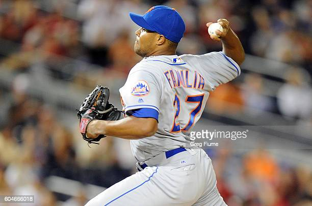 Jeurys Familia of the New York Mets pitches in the ninth inning against the Washington Nationals at Nationals Park on September 13 2016 in Washington...