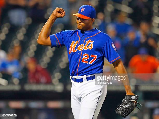 Jeurys Familia of the New York Mets pumps his fist after getting the final out on the ninth inning against the San Diego Padres on June 13 2014 at...